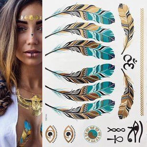 3 sheets Golden Silver Temporary Tattoo